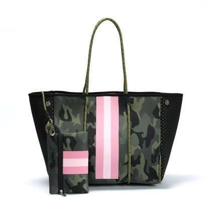 camo neoprene tote with pink stripe
