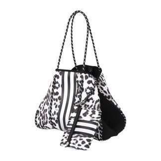 neoprene leopard bag with stripe