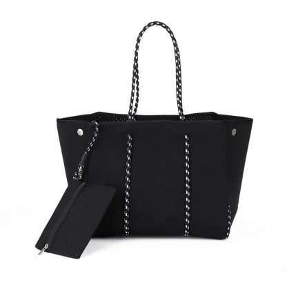 black neoprene tote bag with purse