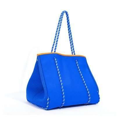 blue neoprene tote bag without purse