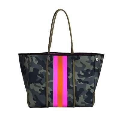 camo neoprene bag with stripe