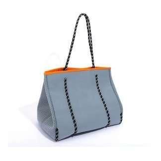 gray neoprene tote with inner bags
