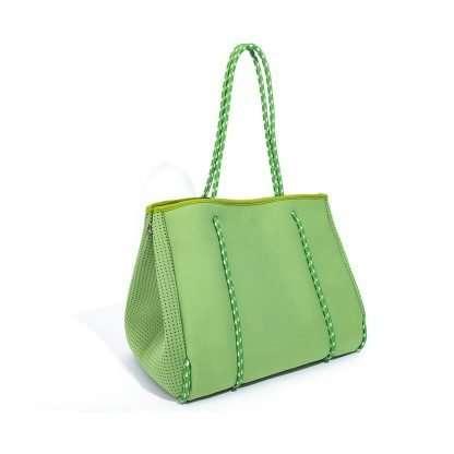 green neoprene tote with inner bags