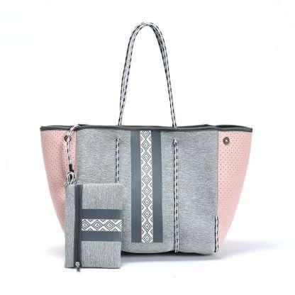 grey neoprene tote bag with stripe