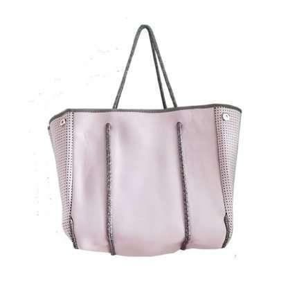 light pink neoprene tote with inner zipper pockets