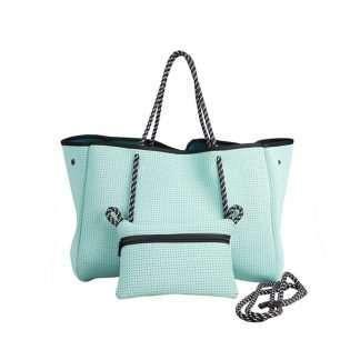 neoprene light blue tote bag