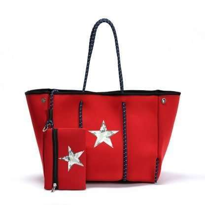 red neoprene tote bag with star