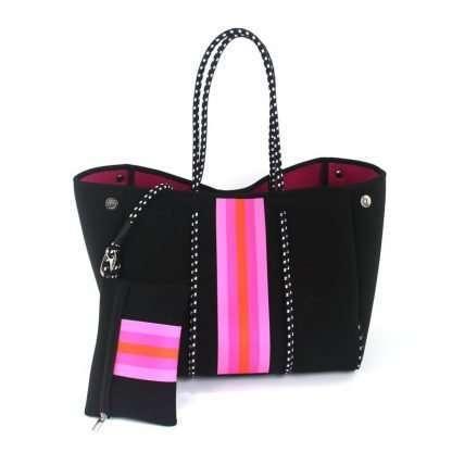 neoprene tote black with pink stripe