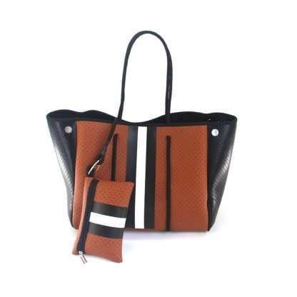 neorpene tote brown with stripe