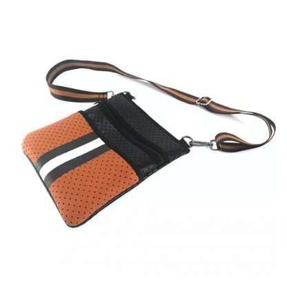 neoprene brown crossbody bag