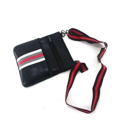 neoprene crossbody bag black with stripe