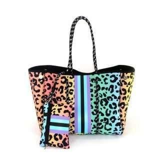 neoprene leopard gradient tote bag